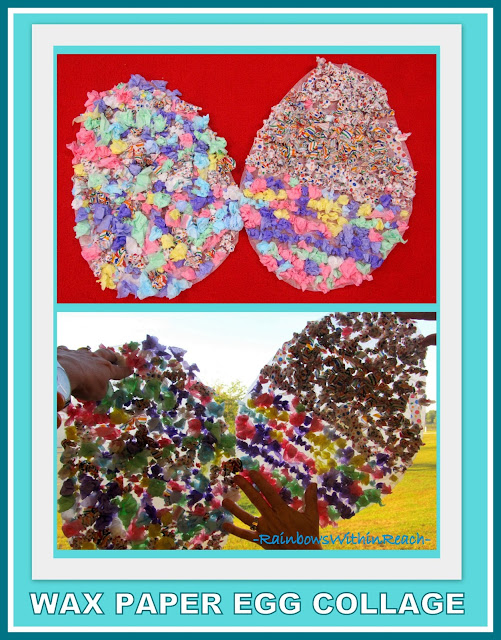 photo of: Wax Paper Easter Egg Collage (Stained Glass Windows) via RainbowsWtihinReach