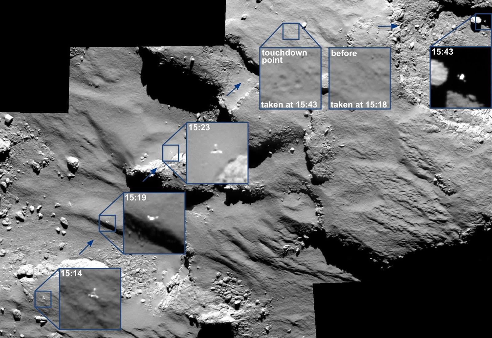 полет зонда Филы до первого касания кометы 67P