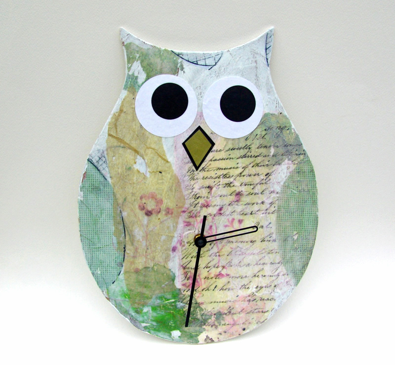 Cool Stuff Art Gallery Photo Color Pallet Modern Owl Clock