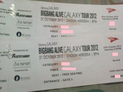 Bigbang Alive Galaxy Tour 2012 Malaysia tickets