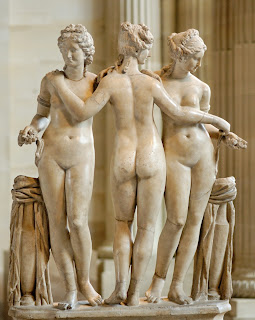Three Graces: Roman copy of Greek 2nd Century BC statue in the Borghese Collection at the Louvre