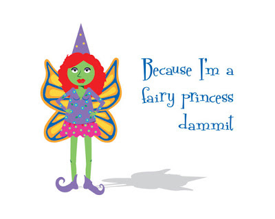 illustration of a feisty fairy with text