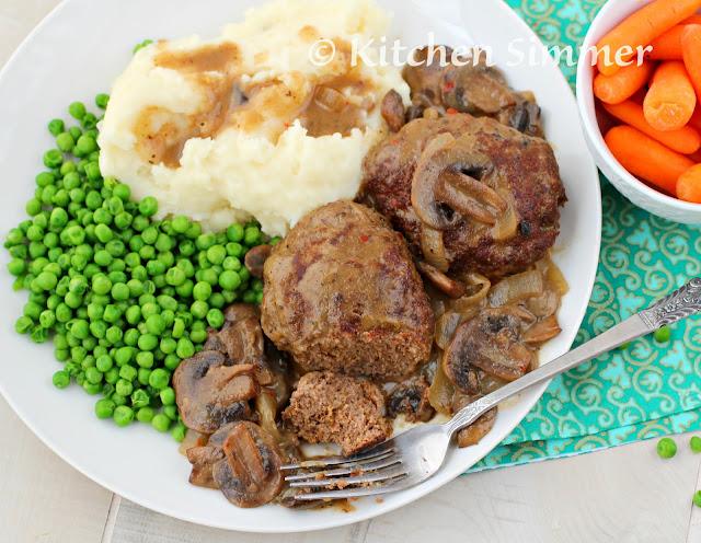 salisbury steak, mushroom, gravy,