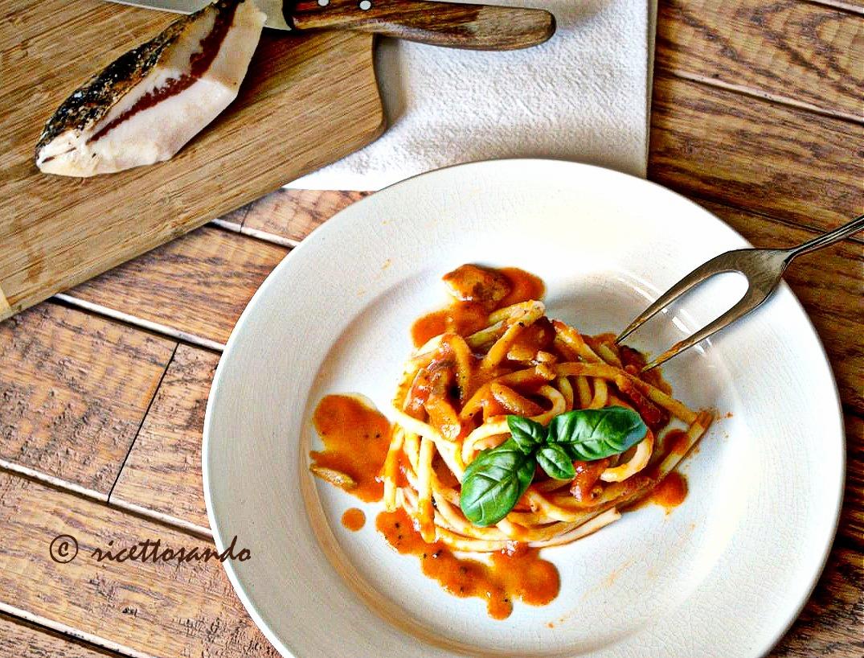 Bucatini al pomodoro con guanciale ricetta primi patti di pasta