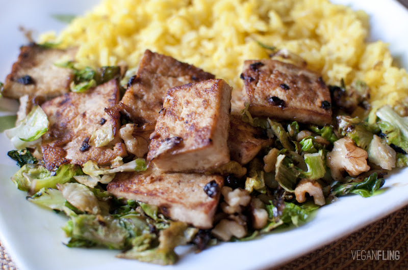 Caramelized Tofu with Brussels Spouts and Saffron Rice