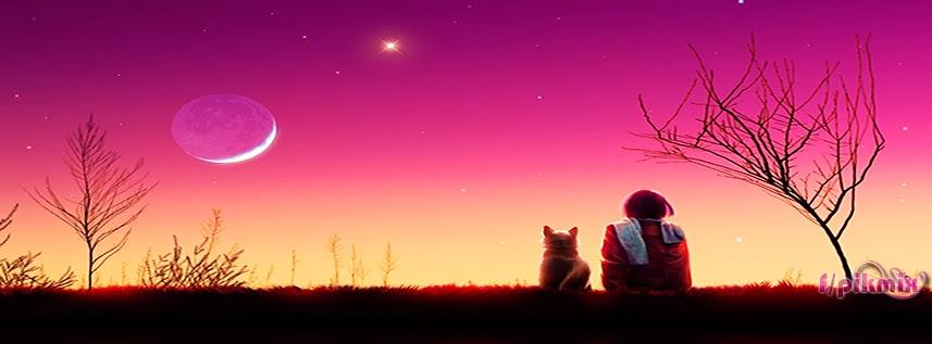 Mirando al cielo - Portada para facebook - luna, cielo , gatito, chica