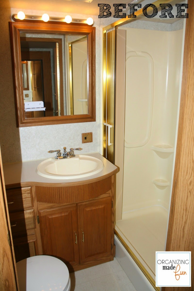 RV bathroom before :: OrganizingMadeFun.com