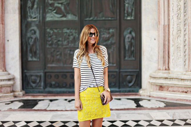 Yellow Skirt, Lace Skirt, Stripe Tee, Stripes, Madewell Tee, Easy Style, What to Pack for Europe, Italy, Siena Duomo, Fashion Blogger