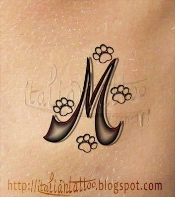 K And M Tattoo Italian Tattoo: Alfabeto tattoo orme: lettera M