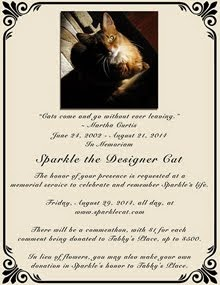 MEMORIAL FOR OUR FRIEND SPARKLE THE DESIGNER CAT