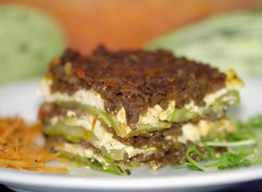 Lasanha de Abobrinha com Carne de Soja (vegana)
