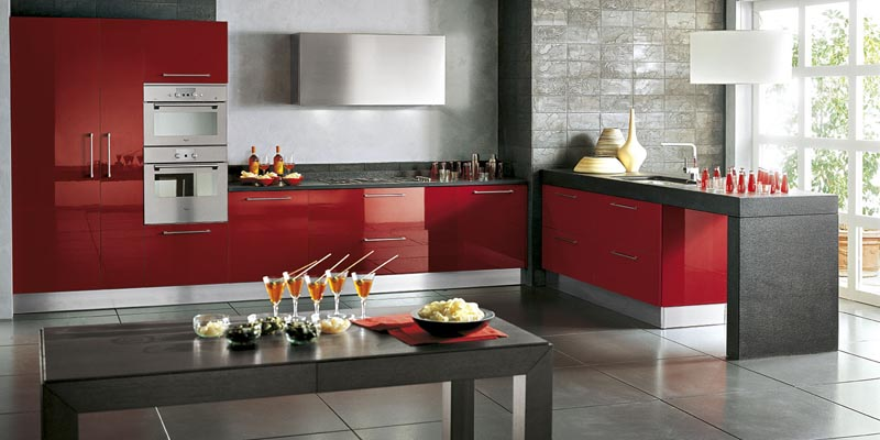 Italian contemporary red kitchen design in san diego - Kitchen designer san diego ...