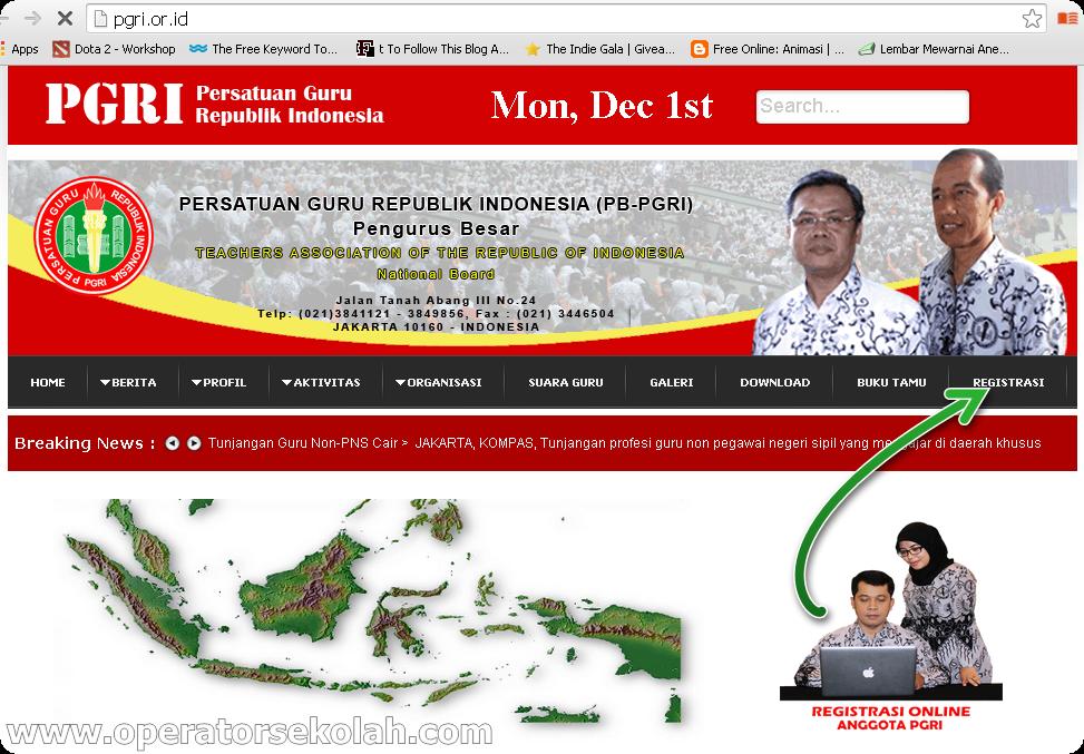 Cara Daftar Pgri Online Kartu Anggota Pgri Operator Sekolah