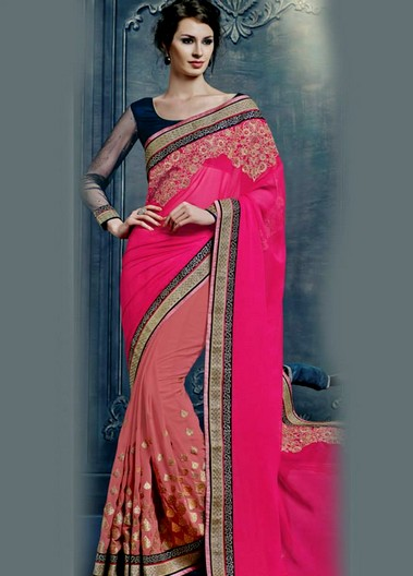 Pink And Orange Chiffon Saree Designs