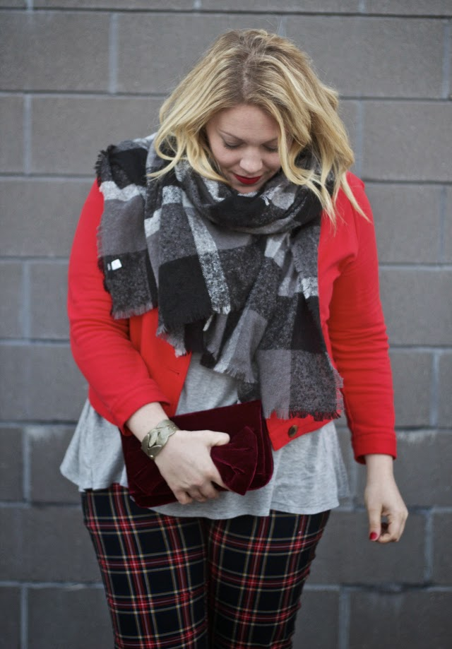 mixing plaids together in one outfit