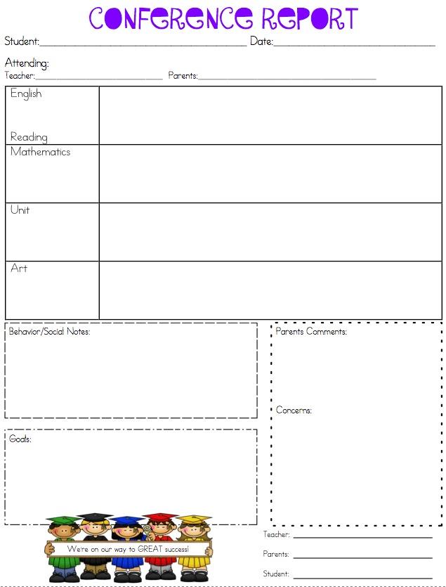 printable parent teacher conference forms