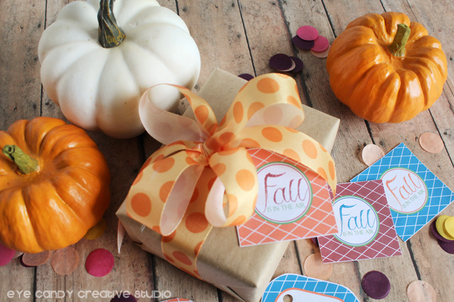 fall gift, pumpkins, wrapping a fall gift, fall is in the air, fall gift tags