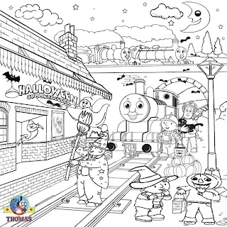 Print free Thomas Bob builder Wendy cartoon ghost nights Halloween kids coloring pages to color in