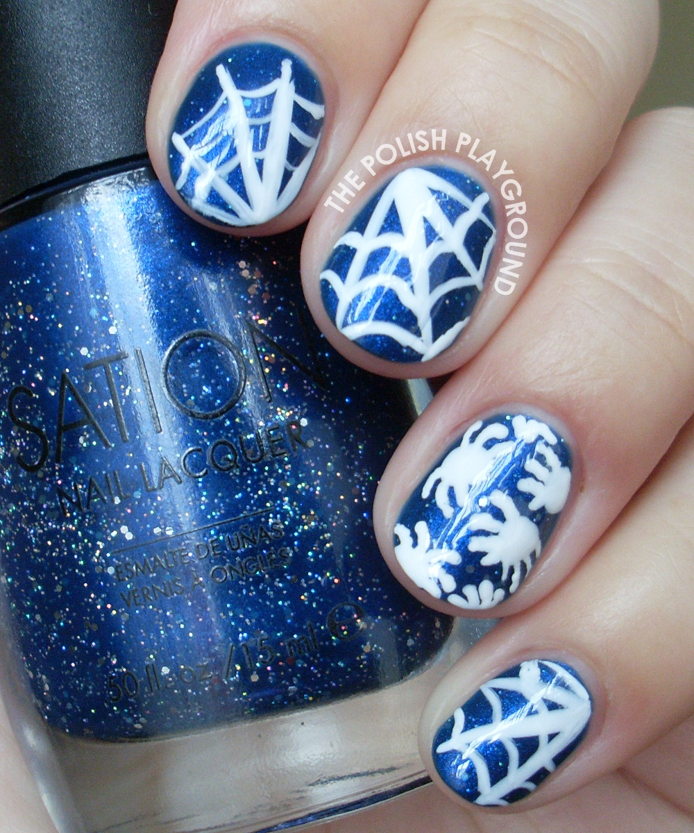 Halloween Inspired Spiders and Cobwebs Nail Art