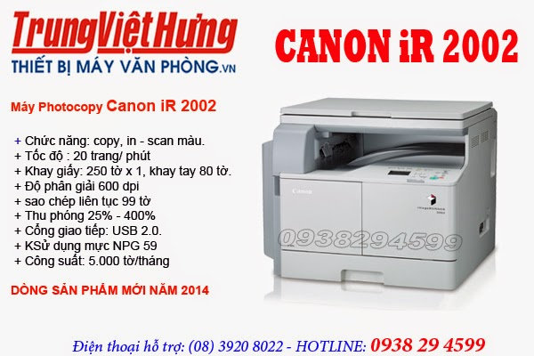 May photocopy Canon iR 2002 Model 2014 0938294599 Trung KD