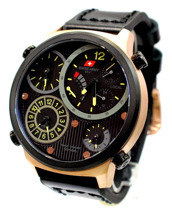 Swiss army 26623 rg hitam 4 waktu hrg 975 male 50 mm kulit