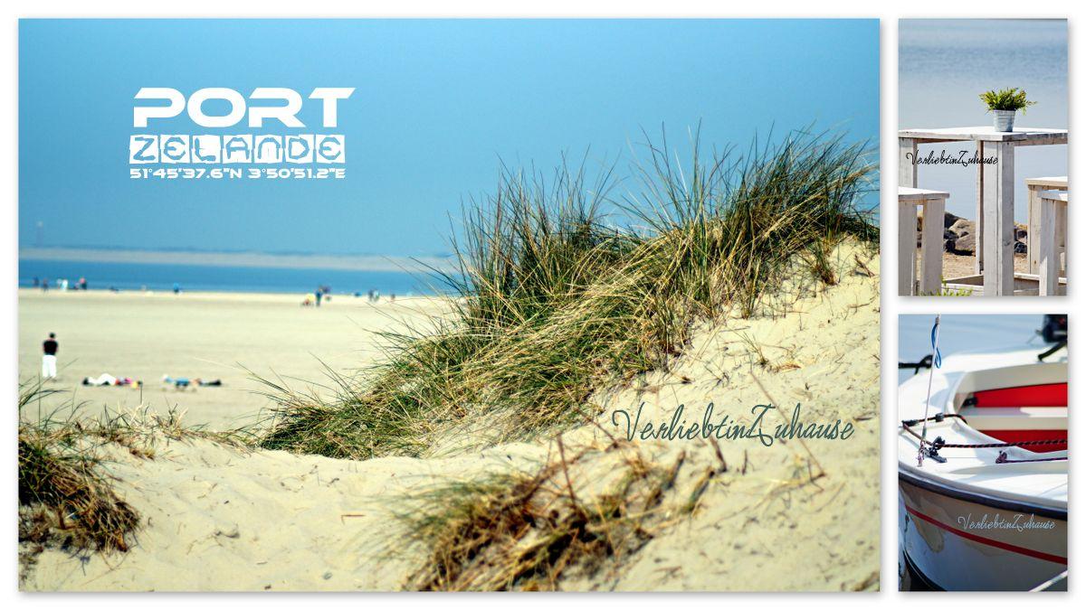 Fotocollage mit Strandlandschaft und Dünen an der Nordsee, Boot und Bartisch mit Hocker zum Verweilen (Port Zelande, Ouddorp, Niederlande)