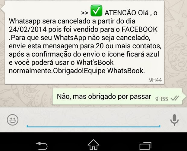 Começa a circular mais uma corrente falsa no WhatsApp
