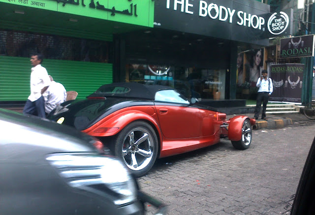 Red vintage/contemporary/Custom car spotten in Bandra, Mumbai, India