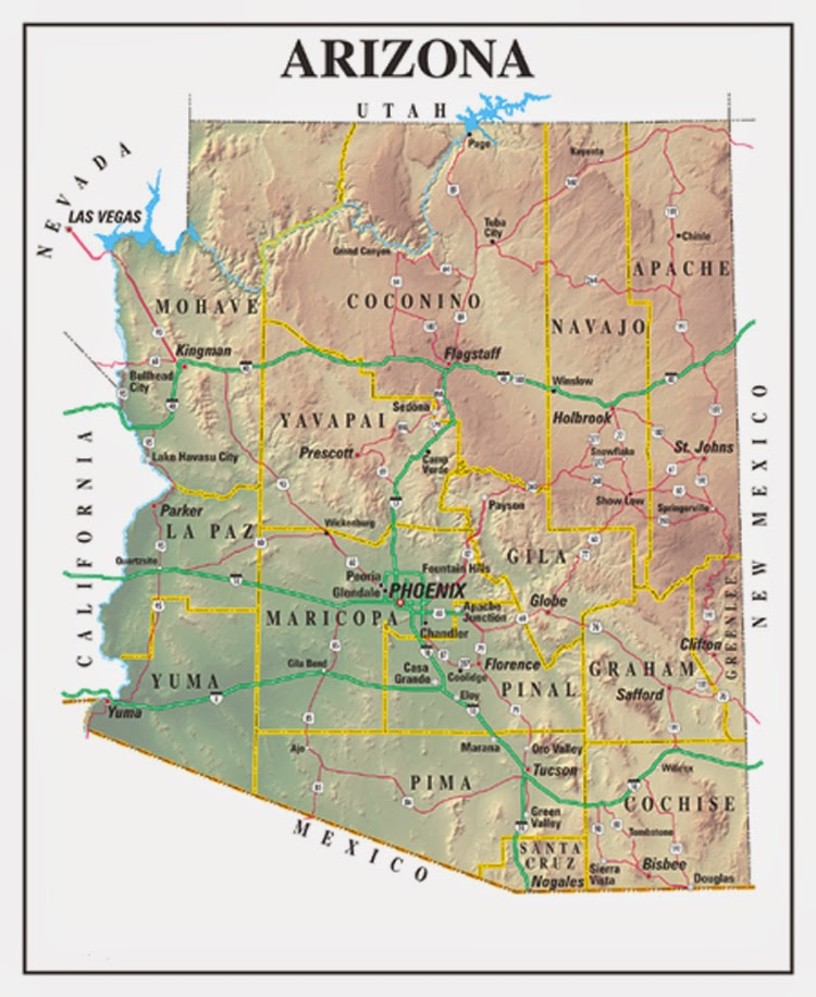 Printable US State maps of Arizona and other southern states.