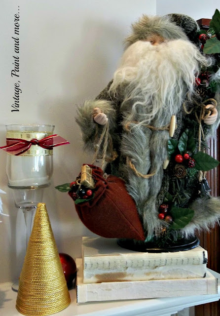 Vintage, Paint and more... Christmas mantel with diy gold cord tree and vintage Santa