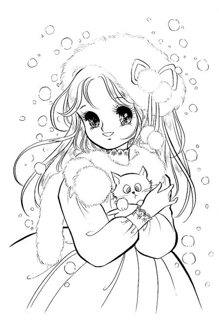 صورة بنت صغيرة تحمل قطتها لتلوين الاطفال