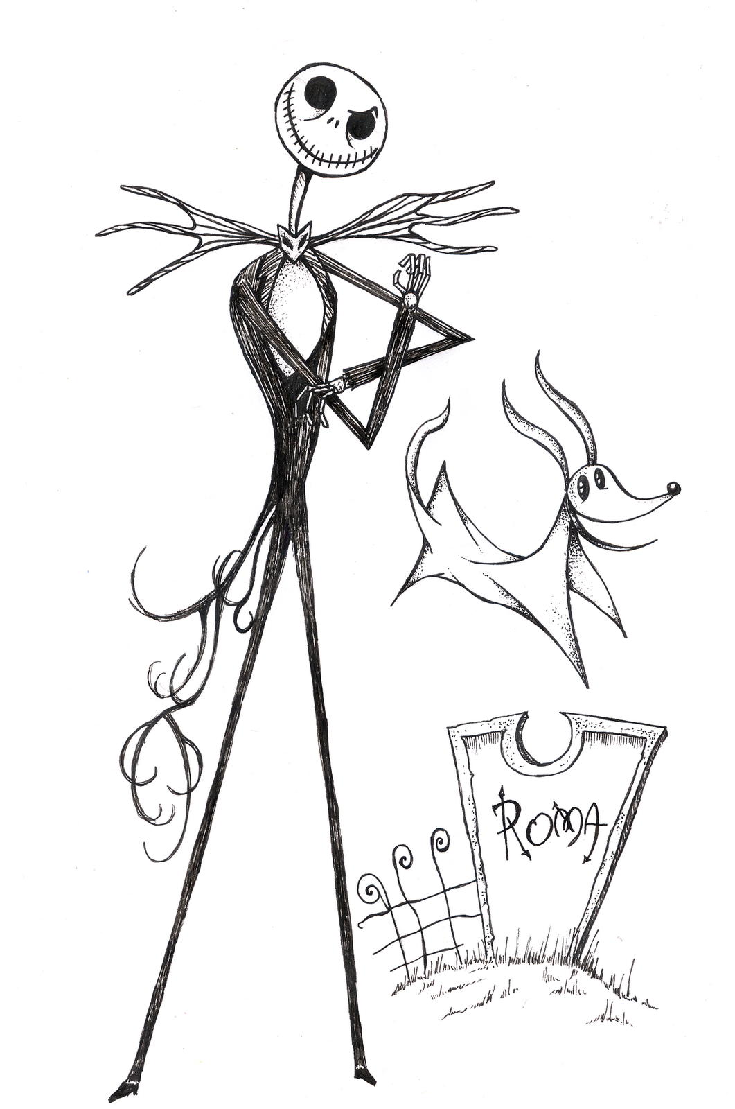 Free Coloring Pages Of Jack Skellington Skellington Coloring Page