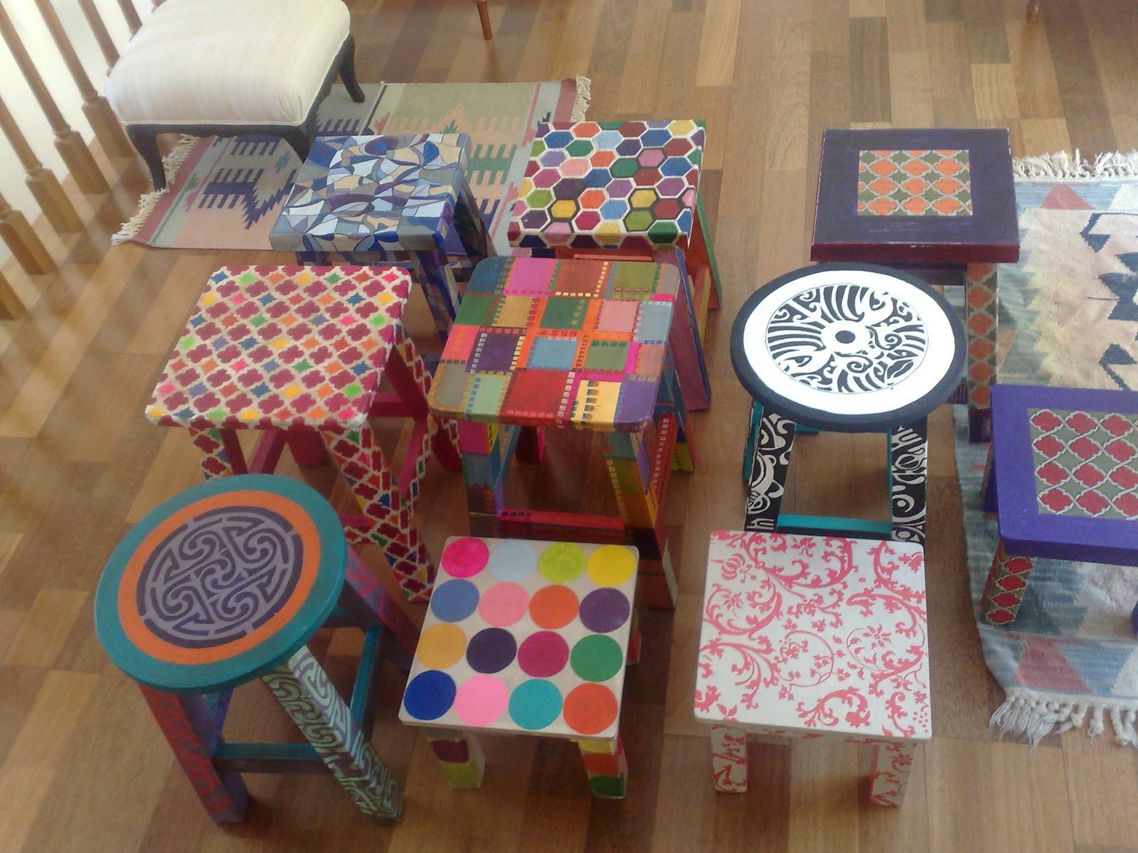 Vintouch muebles reciclados pintados a mano bancos - Muebles decorados a mano ...