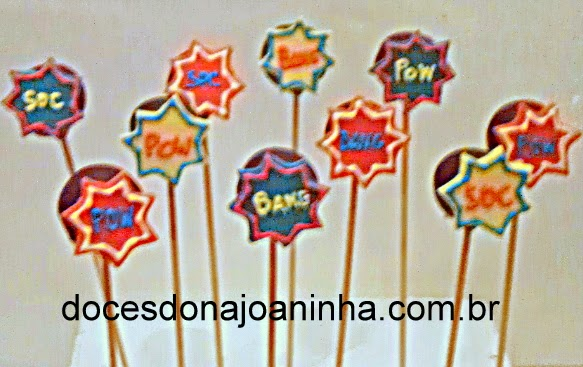 Cake Pops decorados do Batman, Homem Aranha e Super Heróis POW SOCK BANG