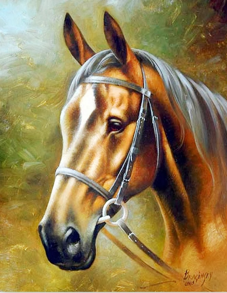 Cuadros modernos pinturas y dibujos caballos cuadros leo arthur braginsky - Cabezas animales tela ...