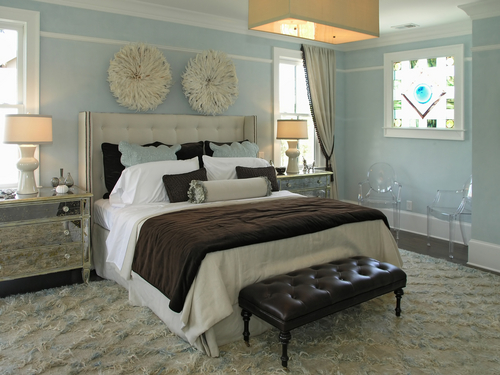 white blue brown bedroom