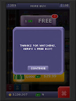 "Tiny Tower Bucks before ""watching"" a bunch of adds"