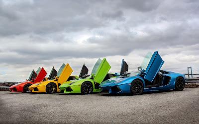 4 Lamborghini supercars rainbow