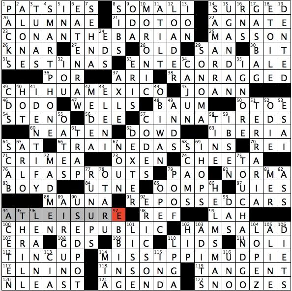 Rex parker does the nyt crossword puzzle concubine 39 s for Soil 8 letters crossword clue