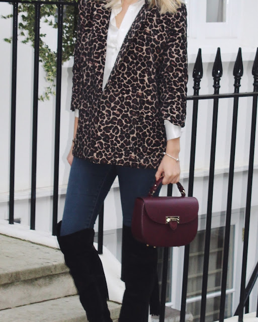 fashion pills jacket, leopard print blazer, russell and bromley boots, otk, otk boots, aspinal of london letterbox burgundy bag, silk shirt, white silk shirt
