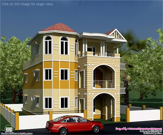 3 floor house design