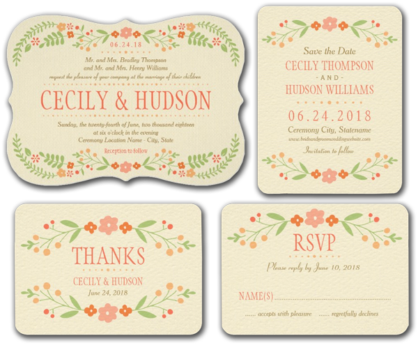 Country Florals Pink Personalized Wedding Invitation
