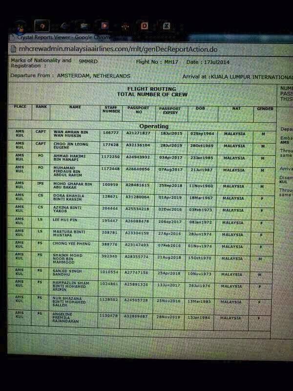 berikut adalah senarai senarai kru mh17 berdasarkan gambar screen