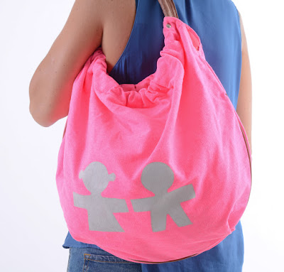 Bolsa de algodón color pink, pintada a mano con chalkpaint
