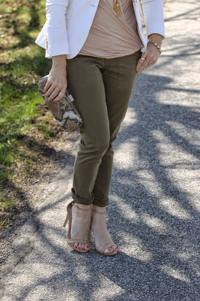 lanston top, jcrew blazer, jcrew slim cargo pants, steve madden heels, hobo clutch, ray ban cat eye sunglasses