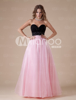 Rose sweetheart perles organza robe de bal Femmes