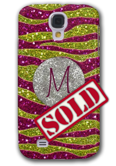 Sold! Monogram Glitters Yellow Pink Zebra Stripes Galaxy S4 Case
