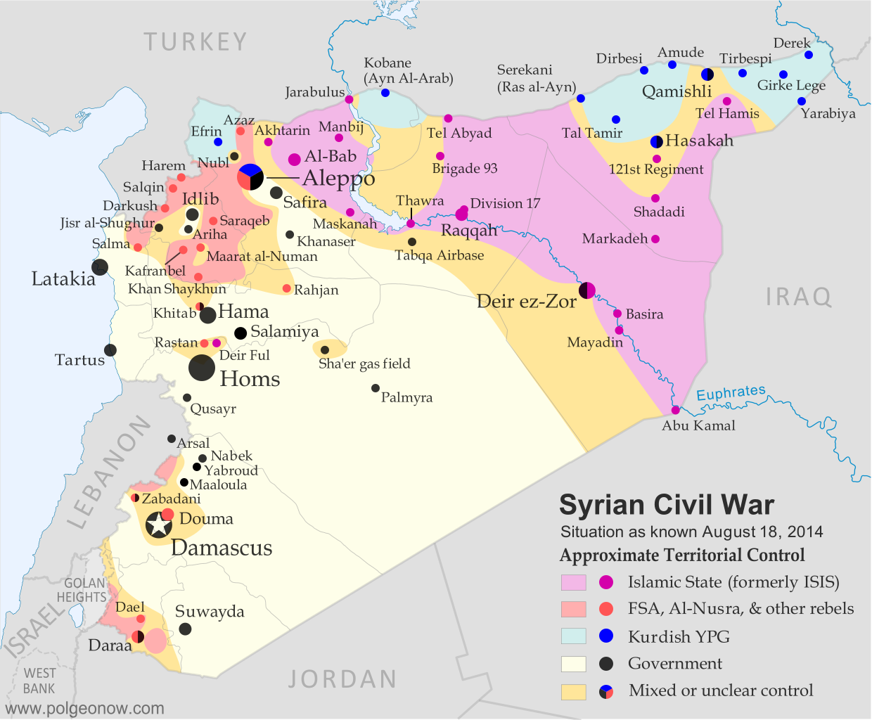 Map of fighting and territorial control in Syria's Civil War (Free Syrian Army rebels, Kurdish groups, Al-Nusra Front, Islamic State (ISIS/ISIL) and others), updated for August 2014. Highlights recent locations of conflict and territorial control changes.