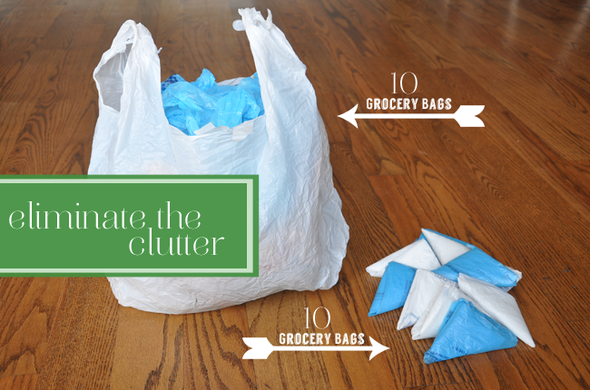 image of how to fold plastic bags to cut down on clutter