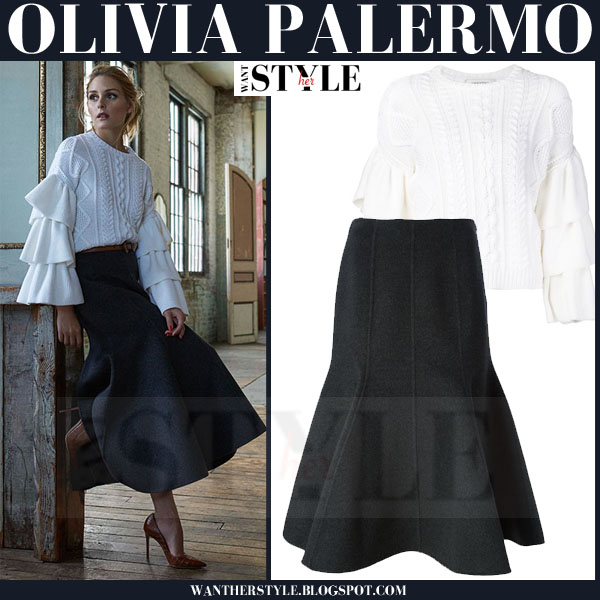 Olivia Palermo in white cable knit valentino sweater with tiered sleeves and grey michael kors godet hem midi skirt what she wore outfit inspiration